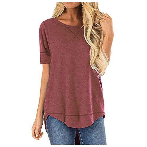 BUDAA Camisetas de mujer Top Color sólido Casual Suelto Cuello Redondo Túnica Manga Corta Verano Flare Swing Blusas Algodón