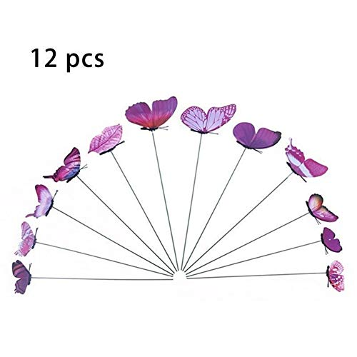12pcs Simulation Papillon Tige Pot De Fleurs Vase Jardinage Bonsaï Bonsaï For Jardin Extérieur Intérieur Plante Verte Décoration Vase (Color : F)