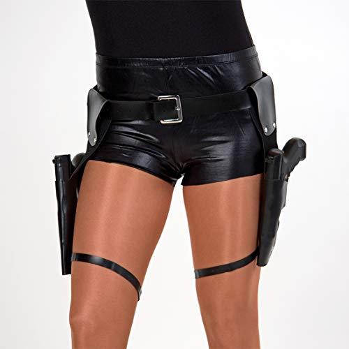 NET TOYS Llamativo cinturón de Pistola Lara Croft con Dos Bolsillos - Negro 120cm - Original Accesorio de Disfraz Unisex Cosplay Sujetador Armas - Incomparable para Carnaval y Fiesta de Disfraces