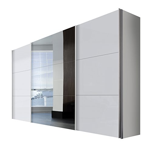Express Möbel Schwebetürenschrank 3-türig Stars Design Weißglas satiert Spiegel 01116-042 BxHxT 350x216x68