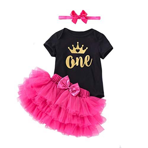 3 stuks baby meisjes kleding set verjaardag 1 jaar / 2 jaar outfits korte mouwen rompers + Rock Tutu + hoofdband