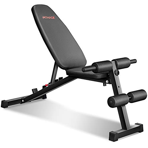 PITHAGE Weight Bench for Home Gym Adjustable Strength Training Bench for Full Body Multi-function Workout Bench with 6 Position Body-building apparatus