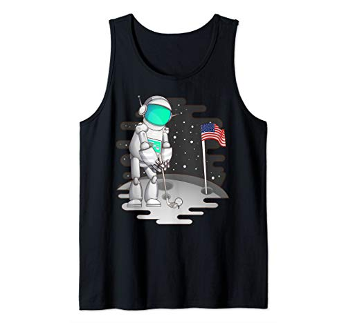 Cute Astronaut Golf US Flag Moon Funny Astronomy Golfer Gift Tank Top