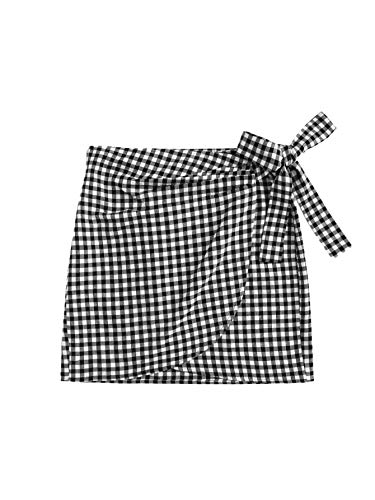 WDIRARA Women's Casual Mid Waist Gingham Print Asymmetrical Wrap Knotted Skirt Black and White S