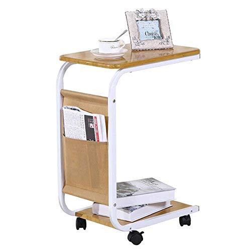 LYN Bijzettafel, sofatafel op wieltjes, bijzettafel, houten tafel, kantoor snacktafel, kleine schrijftafel voor woonkamer