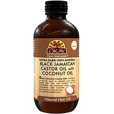 OKAY | Extra Dark 100% Natural Black Jamaican Castor Oil with Coconut Oil | For All Hair Textures & Skin Types | Grow…