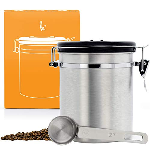 Coffee Storage Container with Scoop - Airfresh Valve Stainless Steel Metal Canister...