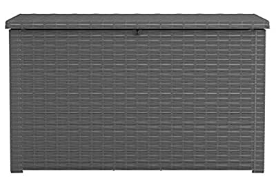 KETER Java XXL 230 Gallon Resin Rattan Look Large Outdoor Storage Deck Box for Patio Furniture Cushions, Pool Toys, and Garden Tools, Grey