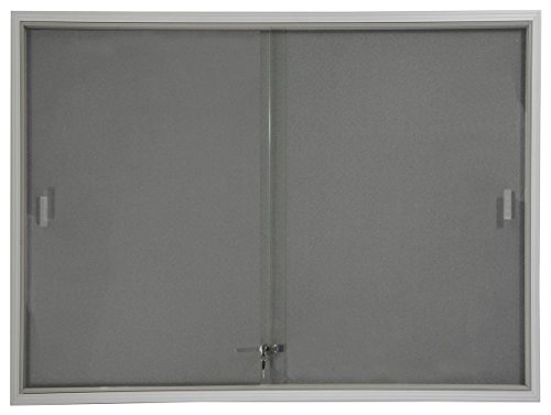 48x36 Indoor Bulletin Board with Gray Fabric Backing, 4' x 3' Enclosed Message Board with Locking, Sliding Glass Doors, Aluminum