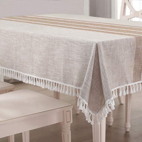Vailge Tischdecke Rechteckige Tischtuch Leinendecke Leinen Tischdecke Abwaschbar, Tischdecken Wasserabweisend mit Quaste Edge Tischwäsche für Home Küche Dekoration (Khaki, 140 x 220 cm)