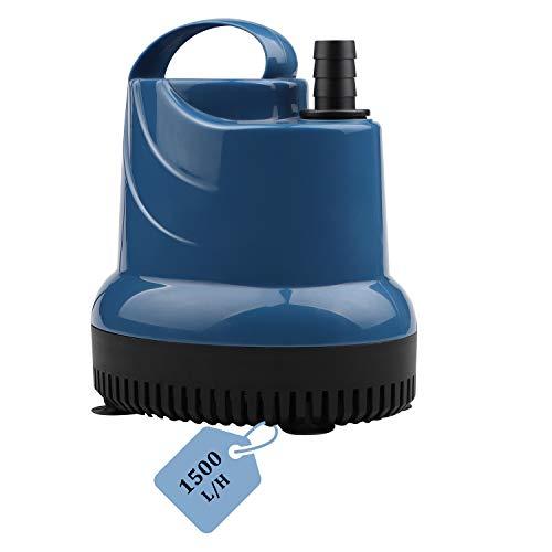 EXLECO Mini Wasserpumpe Tauchpumpe Aquariumpumpe 1500L/H 20W 230V Förderhöhe 1,6m Kabel 1,8m Auslassdurchmesser 16mm für Aquarium, Teich, Brunnen