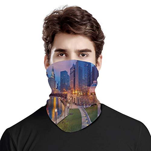 FULIYA Gran cara cubierta bufanda protección cuello, paisaje urbano escena frente al mar iluminado en la imagen de hora azul crepúsculo, variedad bufanda de cabeza unisex