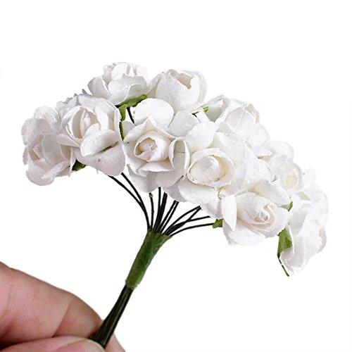SAMGU 144Pcs Rose Fiori Artificiali Mini Fiori Carta Rose di Nozze per bomboniera Artigianale