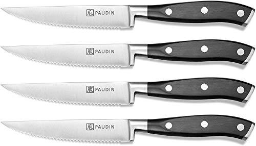 PAUDIN Steakmesser Set, Steakbesteck 4-teilig scharfes Messer Set, aus deutschem Edelstahl mit ABS Ergonomischem Griff