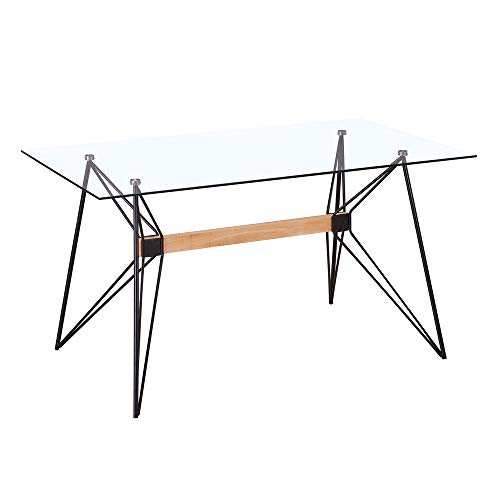 Mesa de Comedor geométrica de Cristal y Metal Negra de 140x80x75 cm - LOLAhome
