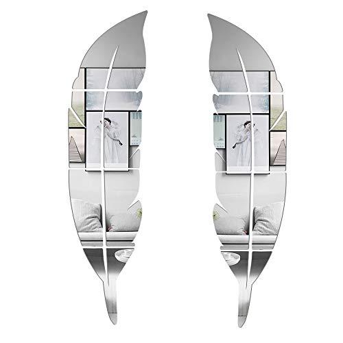 CUNYA 2 Juegos de Adhesivos 3D de Acrílico Para Espejo de Baño, 30x 120cm en Forma de Pluma DIY Papel Pintado Para Pegar Pegatinas de Habitación Para Familia Sala de Estar