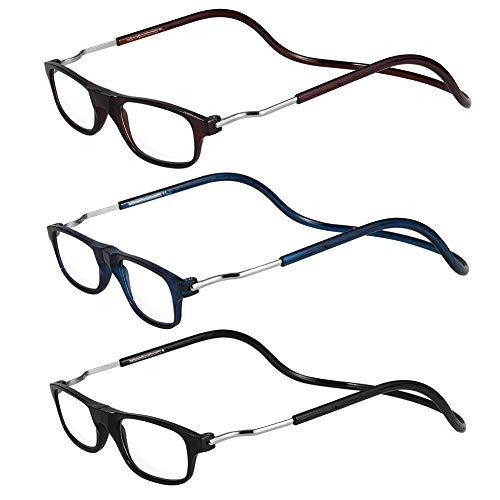 AUXSOUL 3 Piezas de Magnéticas Gafas de Lectura + 2,00 Presbicia Montura Regulable Colgar del Cuello con Cierre Magnético para Hombre y Mujer - Negro, Azul, Color Café