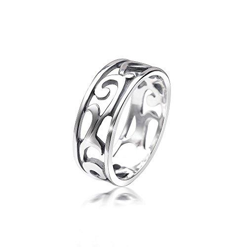 MATERIA Damen Ring keltisch 925 Sterling Silber antik breit deutsche Fertigung #SR-108, Ringgrößen:54 (17.2 mm Ø)