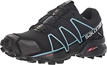 Salomon Women's Speedcross 4 GORE-TEX Trail Running Shoes, Black/Black/Metallic Bubble Blue, 7 M US