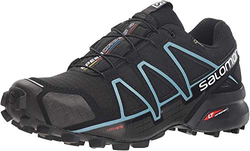 Salomon Women's Speedcross 4 GORE-TEX Trail Running Shoes, Black/Black/Metallic Bubble Blue, 12 M US