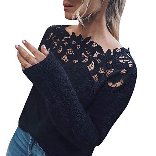 ZYUEER Pull Femme Sexy Chic Top Dentelle Haut Manche Longue Chandail Hiver Casual Mode Top Blouse (Noir, XL)