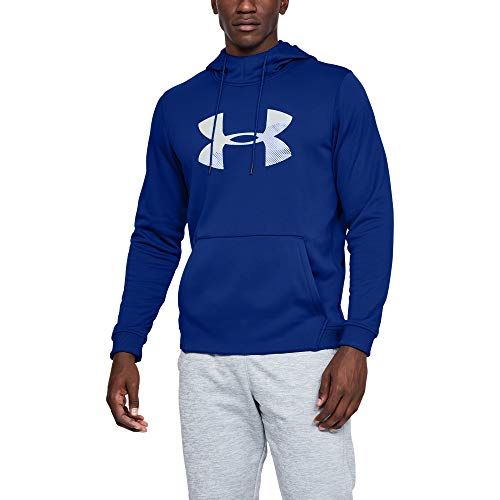 Under Armour Men's Armour Fleece Pullover Hoodie Big Logo Graphic, Royal (400)/Mod Gray, Large