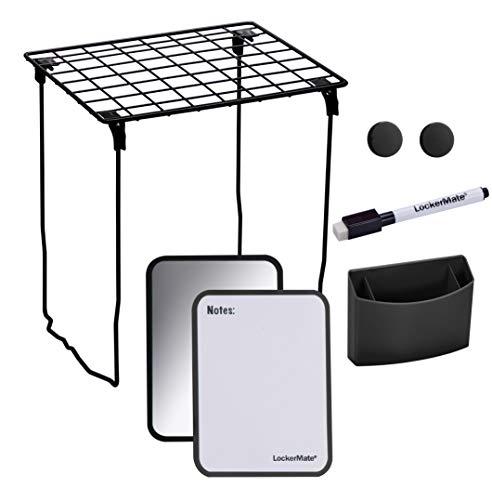LockerMate 7-Piece Locker Organizer Kit, Includes Locker Shelf, Mirror, Whiteboard, Storage Cup & Dry Erase Marker - Black