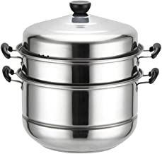 Minkissy Three- layer Steamer, Steam Pot Steaming Cookware Multifunctional Stainless Steel Thick Soup Steam Pot for Home K...