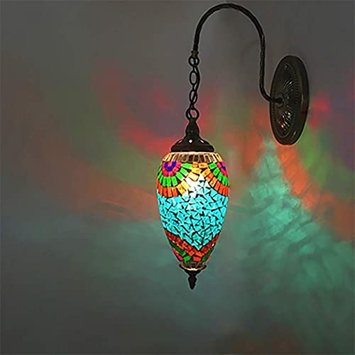 DALUXE Lámpara Antigua de la lámpara de la lámpara del Vintage de la lámpara del Vintage de la Pared del Estilo de Tiffany Lámpara Antigua con Mosaico, Base de Base