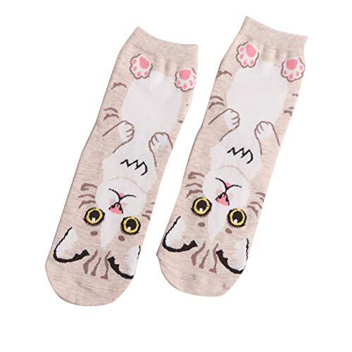 N / A Lindas Mujeres adorables Calcetines para Perros y Gatos de algodón Suave cómodo calcetín de Tubo Medio Rosa para niñas Encantadoras-Arroz Blanco