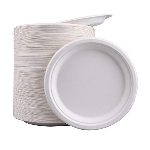 Lawei - Piatti di carta super rigidi, compostabili e biodegradabili, extra resistenti, colore: bianco, 225 x 20 mm, 200 pezzi, in bagassa
