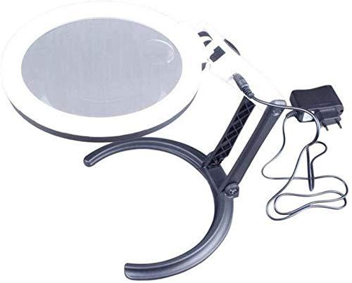 JJDSN Lupa portátil de Vidrio de Escritorio con 10 Luces LED y Soporte 2X 5X Lámpara de Escritorio con Lente de Vidrio Herramientas de Aumento de Vidrio de Mano Plegables