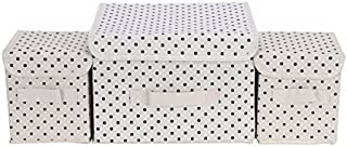 Blu Monaco Foldable Storage Box Closet Dresser Organizer Cube Basket Bins Containers for Nursery, Baby, Underwear, Bras, Socks, Ties, Scarves, 3 PCs Set, Beige Polka Dot