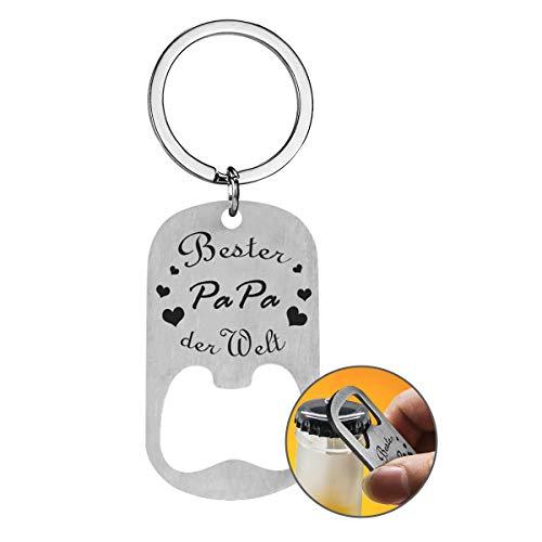 Flaschenöffner Schlüsselanhänger mit Gravur für Männer Vatertagsgeschenk - Silber Schlüsselanhänger Bester Papa der Welt Anhänger Geschenk für Vater - als Vatertag Geburtstag