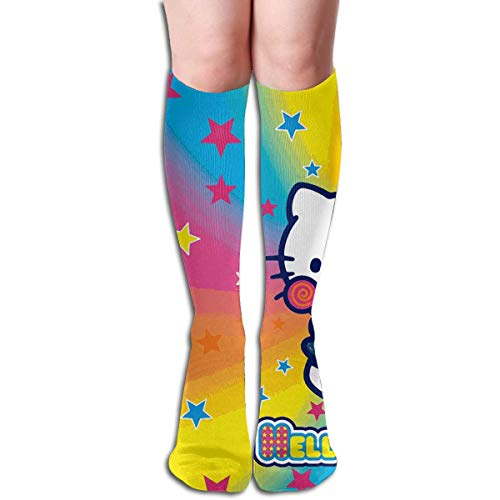Chaussettes hautes à enfiler Hello Kitty Rainbow Funny Boot Socks for Girl Women
