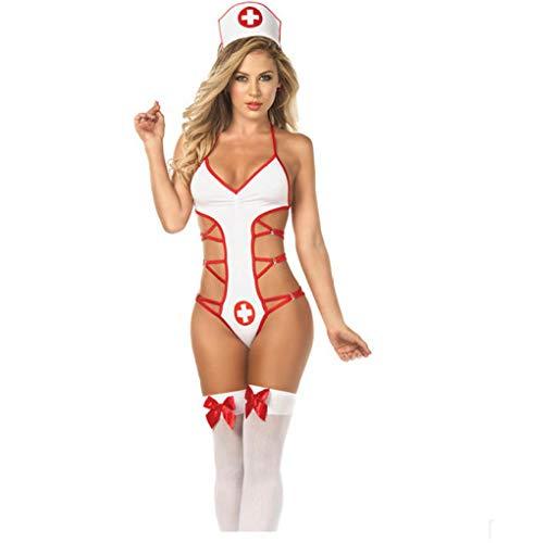 ypyrhh Medias y tirantes sexys, tentación uniforme de enfermera sexual, conjunto de enfermera continuo, lencería sexy de talla grande para mujer