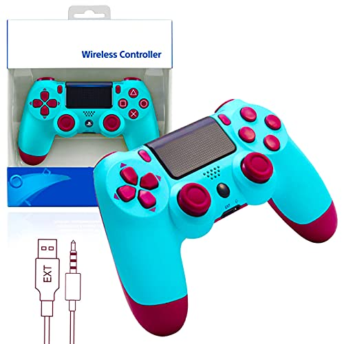 Wireless Controller for PS4, PS-4 Controller, Remote Controller with Double Shock and Charging Cable, Gaming Joystick Compatible with PS4 Console/Pro/Slim/PC, Gamepad Gift (Berry Blue)