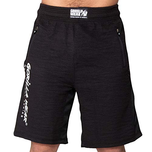GORILLA WEAR Sport Shorts Herren - Augustine Old-School - Kurze Hose Bodybuilding Schwarz S/M