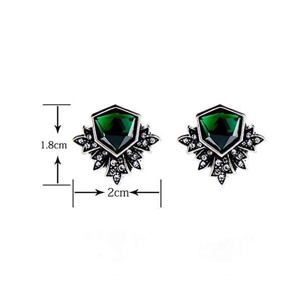 Zealmer Women Rhinestone Green Stud Earrings 5