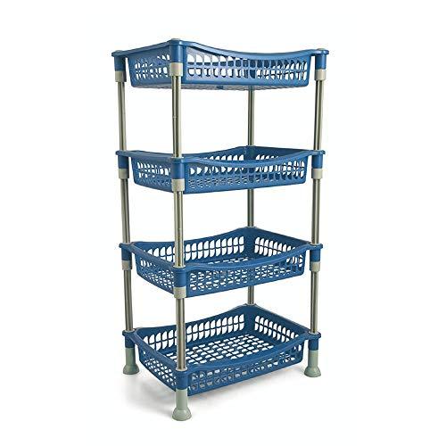 Galileo Casa, Carrito para la Cocina, Rectangular, 4Estantes, Azul
