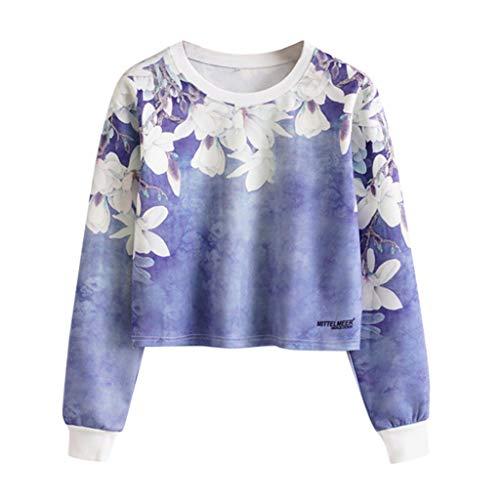 XXYsm Women's Lady Flowers Print Round Neck Long Sleeve Short Fashion Hoodie