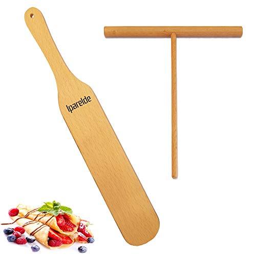 """Crepe Spreader Stick [ 7"""" Spreader Stick   12"""" Spatula ] Spatula Turner - Natural Handmade Crape Makers - Crepe Set Kit Tools Pancake Maker - Best Gift for Crepe Lovers (Set of 2)"""