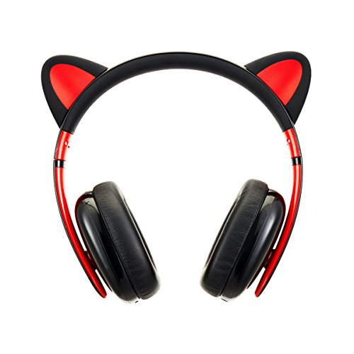 Censi Wired Cat Ear Headphones, Over Ear Wired Noise Canceling Headphones for Smartphone, PC, Christmas Gift for Her (Black+Red, Wired)