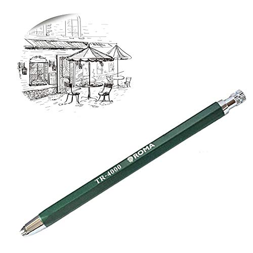 4.0mm Automatic Mechanical Pencil with Built-in Sharpener Pencil Lead Holder with Clip Mechanical Clutch Graphite Pencil for Draft Drawing, Writing, Crafting, Art Sketching