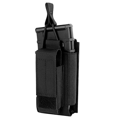 FUNANASUN Molle Mag Pouch, Single Mag Pouch Tactical Magazine Pouches, Open Top Elastic Magazine Holster for M4 M16 AK AR Magazine Glock M1911 92F 9mm