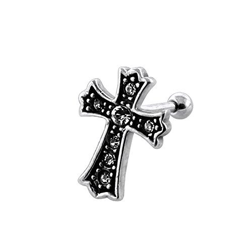 Tribal Celtic Cross with Gemstone Surgical Steel Tragus Piercings Helix Piercing - Sold by Piece