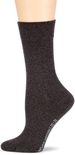Hudson RELAX COTTON Damen Relaxed Socken, Baumwollsocken Damen ohne Gummib&, Frauen Socken mit verstärkter Sohle (hautfre&lich, viele Farben) Menge: 1 Paar, Grau (Grau-mel. 0550), Gr. 39-42