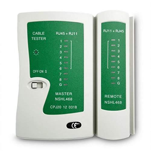 Probador de Cables de Red Profesional Rj45 Rj11 Rj12 Cat5 Utp LAN Cable Tester Detector Herramientas de Prueba remota Redes (Blanco y Verde)