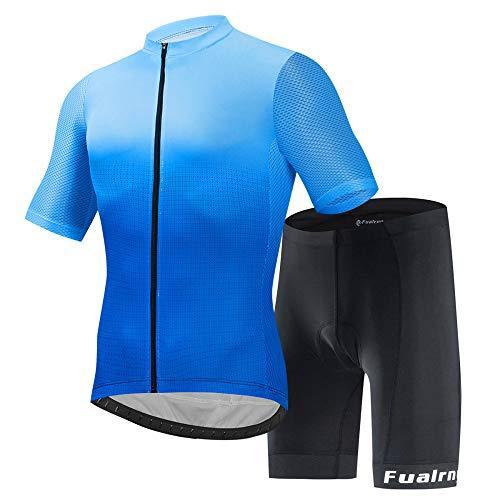 JINFAN Jerseys De Ciclismo para Hombre Trajes De Ciclismo De Manga Corta con Conjunto De Ropa Deportiva Al Aire Libre Acolchado con Gel 3D,Short-sleevesuit-3XL
