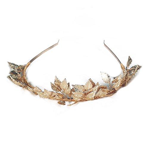 ACAMPTAR Griechische Goettin Blatt Krone Barock Koenigin Gold Farbe Krone Tiara Hochzeit Braut Stirnband Haarschmuck Haarteil